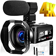 4K 摄录摄像机 适用于 YouTube HD 48MP 30FPS 16X 数码变焦相机 3.0 英寸触摸屏红外夜视带外置麦克风和遥控器