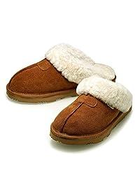 K.Signature品牌钜惠包邮EVE(夏娃)秋冬女士真皮澳洲羊毛舒适保暖居家拖鞋