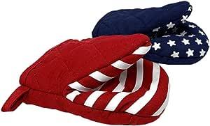 东北家居用品棉质烤箱手套迷你锅夹,带硅胶握把,2 件套 Americana Stars & Stripes
