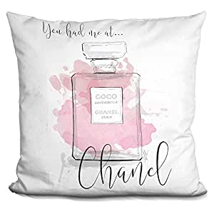 LiLiPi You Had Me At Chanel Pink Decorative Accent Throw Pillow