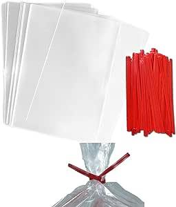 """100 个清新美食袋   含系带   非常适合蛋糕棒、糖果、礼物、婚礼或派对礼物   食品*塑料   比玻璃纸更结实   1.5 * 透明 4""""x 6"""""""