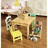 MERRY GARDEN 美丽家园 儿童学习桌 儿童小桌子 小凳子 实木小桌子 儿童靠背椅 幼儿园桌椅套装 3027 【支持定制】 (单张桌子, 原木色)