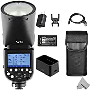 FOMITO 神牛 V1-N 适用于尼康 2.4G TTL 锂离子圆头相机闪光灯闪光灯 76Ws GN92 1/8000 HSS,1.5 秒 回收时间,2600mAh Lithimu 电池,10 级 LED 模型灯