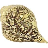 Purpledip 罕见系列吹制王冠/Conch 古铜色印度宗教神丰富雕塑 Vishnu-Lakshmi (10384)