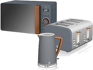 Swan Nordic 套装 早餐 电水壶 1.7 升 2200 W 宽槽 吐司机 4 片微波炉 20 升 数字设计 现代木纹 石灰