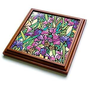 Dinas Designs Floral - Iris - Trivets 棕色 8 到 8 英寸