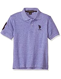 U.S. Polo Assn. 男孩短袖 Marled Pique Polo 衫