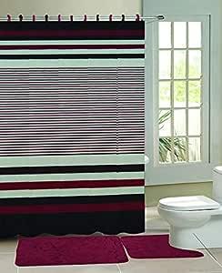 Sapphire Home Rock 压花泡沫浴室垫子套件和浴帘,带织物挂钩,防滑橡胶垫,可机洗,2 个浴垫 + 浴帘 + 挂钩,各种设计/颜色 Stripes Burgundy