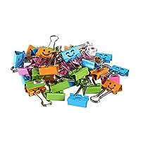 活页夹,40 件,可爱笑脸金属折叠夹,适用于办公室学校照片墙(多色)