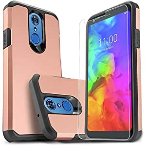 Star LG Q7 手机壳,LG Q7 Plus 手机壳 [含优质高清屏幕保护膜],Starshop [减震]双层碰撞高级保护手机套LG Q7 玫瑰金