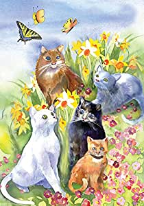 Toland Home Garden Flower Cats 28 x 40 Inch Decorative Spring Summer Floral Kitty Cat House Flag