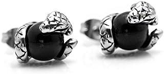 Xusamss 朋克钛钢动物蛇水晶球耳钉