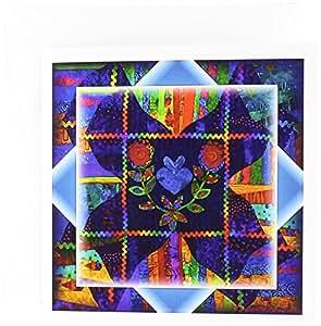 Susan Brown Designs 一般主题 - 彩色民间艺术被子 - 贺卡 Set of 12 Greeting Cards