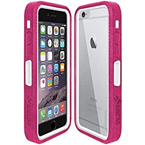 Amzer CRUSTA Rugged Embedded Tempered Glass Case with Belt Clip Holster for iPhone 6 (For Space Grey iPhone 6) - Magenta/White