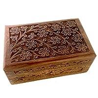 """New Age Imports, Inc. 花卉雕刻手工木盒 ~ 存储珠宝、硬币、塔图卡、草本、小财富的理想选择。 生命之树设计(花卉)由 棕色 Floral Carved 4""""x6"""" unknown"""