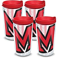 Tervis 1141506 迈阿密大学红鹰队 Colossal 玻璃杯 含包装和红色盖子 4 件装 453.59 克透明