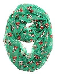 MIRMARU 女式假日围巾柔软轻质透明环形圣诞无限围巾