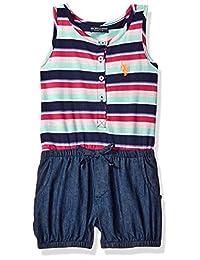 U.S. Polo Assn. 女童府绸背心和牛仔泡泡短连衫裤