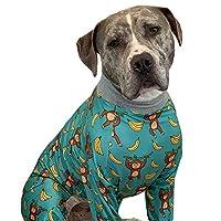 牙和蜂蜜斗牛犬睡衣/猴子香蕉印花狗狗连体衣/轻质套头睡衣/全覆盖狗狗睡衣(XL 码)
