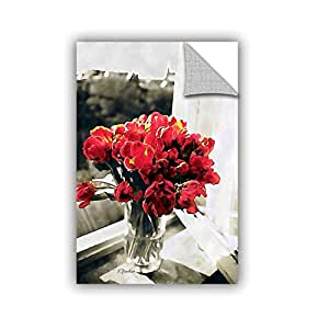 Linda Parker's Red Tulips In Window, Removable Wall Art Mural 24x36