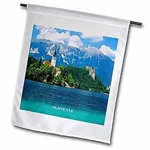florene worlds 异域风情斑点–湖 bled 斯洛文尼亚–旗帜 12 x 18 inch Garden Flag