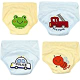 可爱幼儿 男孩和女孩马桶训练裤,适合 9 个月至 3 岁婴儿,纯棉,4 条装 A 90
