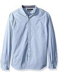 Nautica 男式经典修身弹力纯色长袖纽扣衬衫