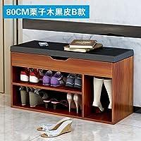 简约现代时尚床尾试鞋木质布艺沙发换鞋收纳储物家用鞋柜式鞋凳 (栗子木黑皮B款)