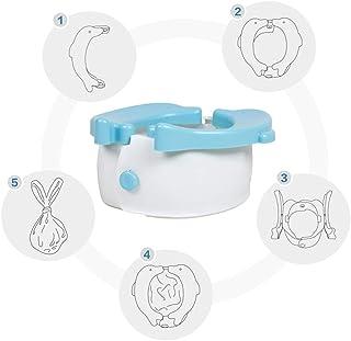 Jitejoe 旅行便盆 – Potette 折叠可重复使用训练座椅,幼儿旅行厕所如厕训练座椅,可爱海豚清洁儿童汽车便携式厕所带 20 个马桶垫一次性(蓝色)
