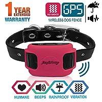 AngelaKerry 无线狗围栏系统,带GPS,无电击,户外宠物封闭系统可充电防水震动项圈850YD遥控器,适用于15磅-120磅(玫瑰红色)