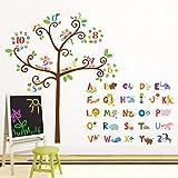 decowall da-1503动物字母 ABC 和猫头鹰数字 Tree 儿童墙贴花墙贴纸即剥即贴可移除墙贴纸适用于儿童幼儿园卧室客厅