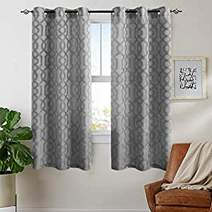 waffle-weave 纹理窗帘适用于客厅灯 reducing 窗帘布适用于卧室顶部2片装