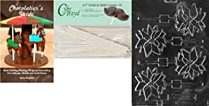 Cybrtrayd 'Poinsettia Lolly' 圣诞巧克力糖模具 50 11.43 厘米棒棒棒和巧克力器指南