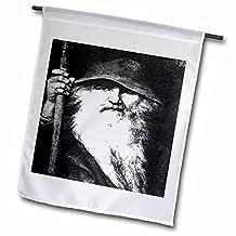 taiche–亚克力画–motocross–odin- ODIN , GOD , norse GOD , MYTHOLOGY ,黑色和白色,轮廓,挪威, WARRIOR , barbarian–旗帜 12 x 18 inch Garden Flag