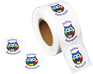 Roll of 500 Autism Awareness Owl Stickers (500 Stickers)