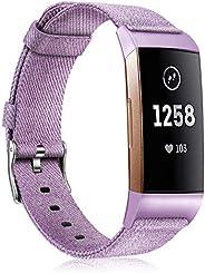 Fintie Fitbit Charge 3 编织腕带,柔软尼龙面料可调运动腕带替换带,适用于 Fitbit Charge 3 / Charge 3 SE 健身活动追踪器女士男士 紫色(Lavender)