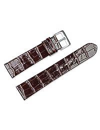 替换皮革表带 - 鳄鱼纹平底 - 棕色 - 12 毫米