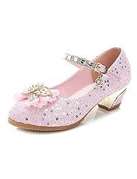 YIBLBOX 女童玛丽珍婚礼派对鞋 闪光伴娘低跟公主礼服鞋 Z-pink 11.5 M US 儿童