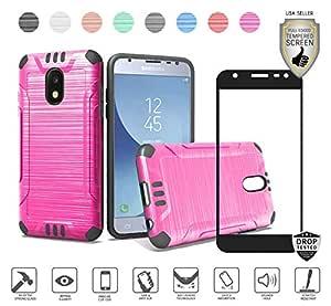 Galaxy J3 2018/Achieve/Star/Express Prime 3/Amp Prime 3/Sol 3/J3 V *三代/轨道保护套带钢化玻璃屏幕保护膜,拉丝混合防震保护套 Brushed Metallic Hot pink