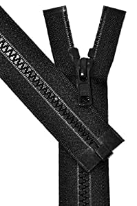 Vislon 拉链,YKK #5 模制塑料分离式底板 - 中等重量(选择颜色和长度) 黑色 Length 16 inches 0000112