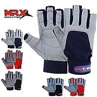 MRX 拳击和贴合帆船手套,3/4 指和握柄,适合男士和女士,非常适合皮划艇、锻炼等等 蓝色/灰色