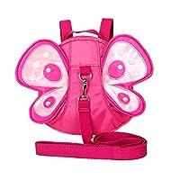 Xiaoyu Baby 蝴蝶带翅膀步行*带牵引带幼儿儿童儿童背带背包 玫瑰红