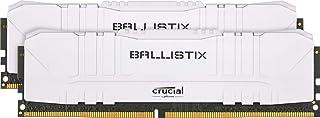 Crucial 美光 Ballistix BL2K32G32C16U4W 3200 MHz DDR 4 DRAM, 台式机游戏内存套件 64GB (32GB x2) CL16,白色