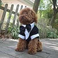 Lovelonglong 宠物服装狗狗套装正式燕尾服带黑色蝴蝶结,适合大型中型小型犬猫咪服装 黑色 XL (Small Dog)