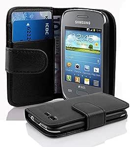 Cadorabo 手机壳适用于三星 Galaxy Pocket NEO(设计书结构) - 带 2 个卡槽 - 钱包式手机壳 Etui 盖袋 PU 皮革翻盖DE-101728 OXID-BLACK