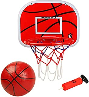 小门上篮球框套装(13.4 英寸 x 9.8 英寸)篮板金属边缘(9.06 英寸)挂壁板,带 6 英寸迷你橡胶篮球泵趣味运动游戏,适合儿童成人户外室内办公室家居