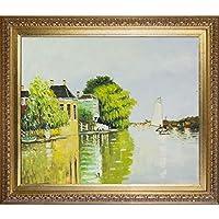 "overstockArt La Pastiche""阿克特扎的房子""克劳德·莫奈创作的油画画布带优雅金色框"