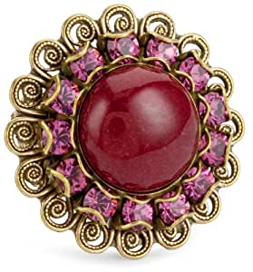 "Liz Palacios ""Piedras"" Red Swarovski Crystal and Cabochon Ring"