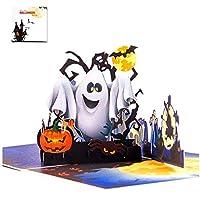 3D 万圣节弹出式贺卡 幽灵南瓜图案 手工卡片 带信封 万圣节主题派对,5.9 x 5.9 英寸