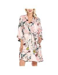 Lu's Chic 女士缎面和服长袍丝绸花卉浴袍伴娘短口袋休闲服